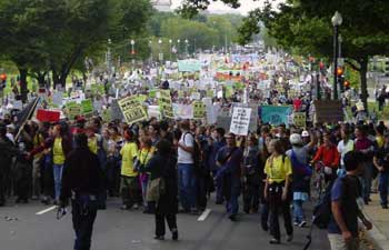 First anti-war demonstration after Sept. 11 attacks, 09/29/2