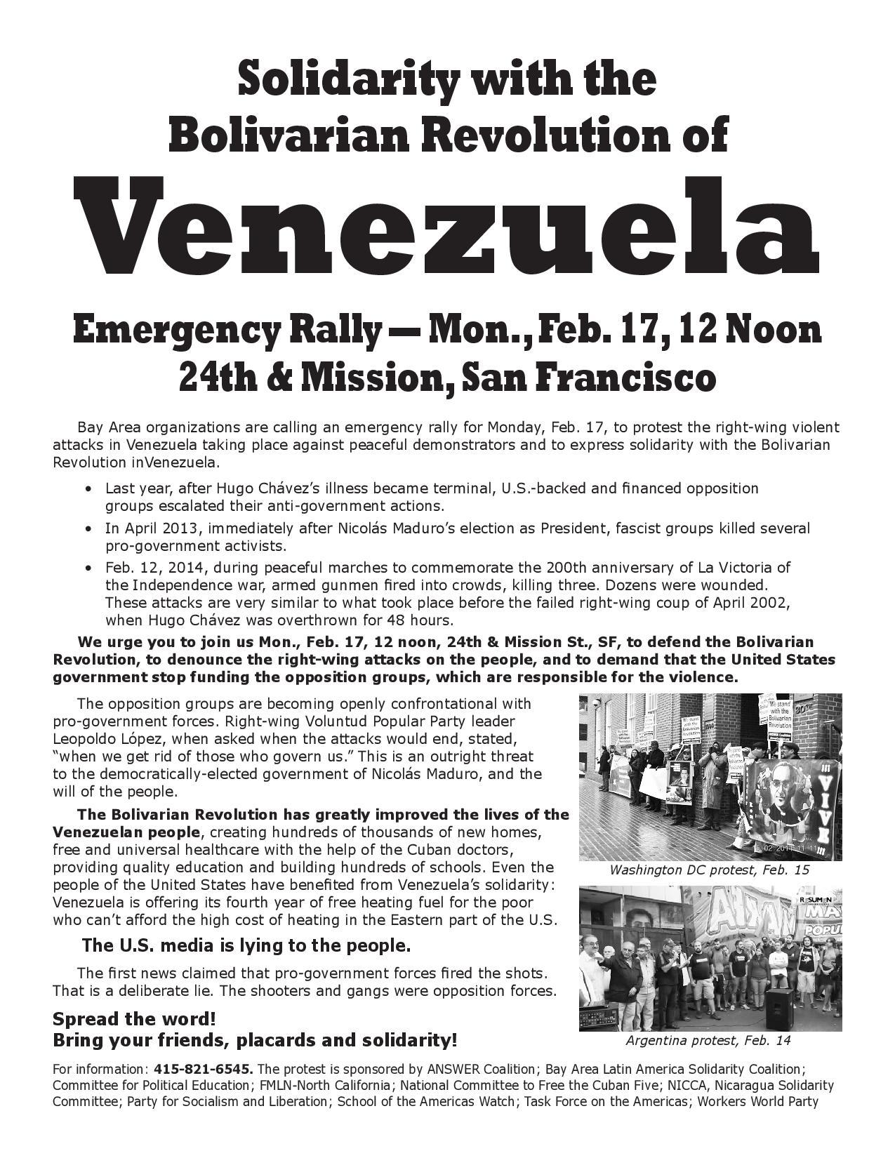 SF Venezuela demo flyer