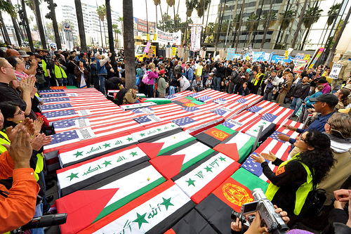 Draped coffins at anti-war demonstration