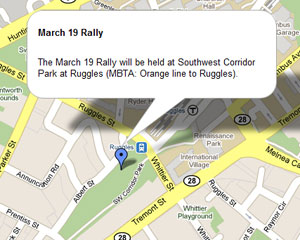 Map of March 19 2011 rally in Boston