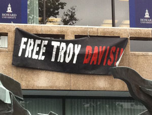 Free Troy Davis banner at Howard University, Sept 2011