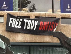 Free Troy Davis banner at Howard University, Sept 2011