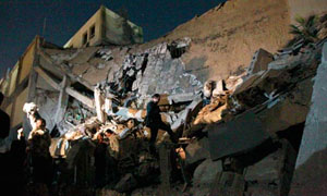 Rubble at the site of the main govt building in Tripoli, 03-