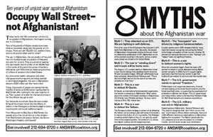 NYC - Flyer for 10th anniversary of Afghanistan war, 10-08-1