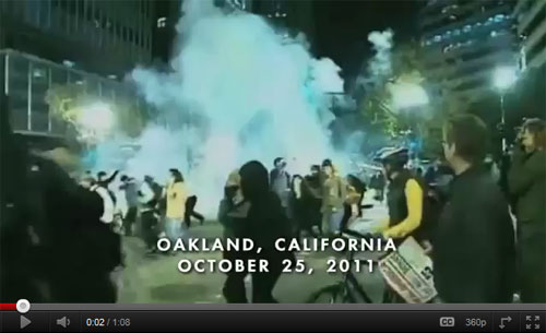 Police fire tear gas at Occupy Oakland, 10-25-2011