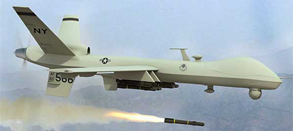 US drone firing missile