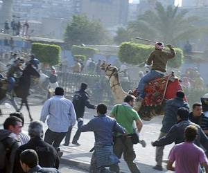 Egyptian protesters fight police, 02-02-11