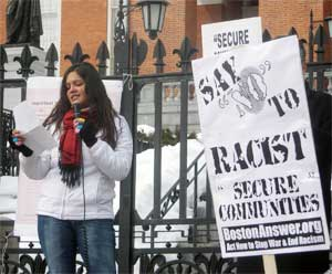 Jennifer Zaldana (ANSWER Boston), rally against S-Comm 02-12-11