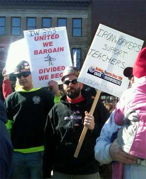Iron workers show labor solidarity in Madison, Wis., 02-19-11