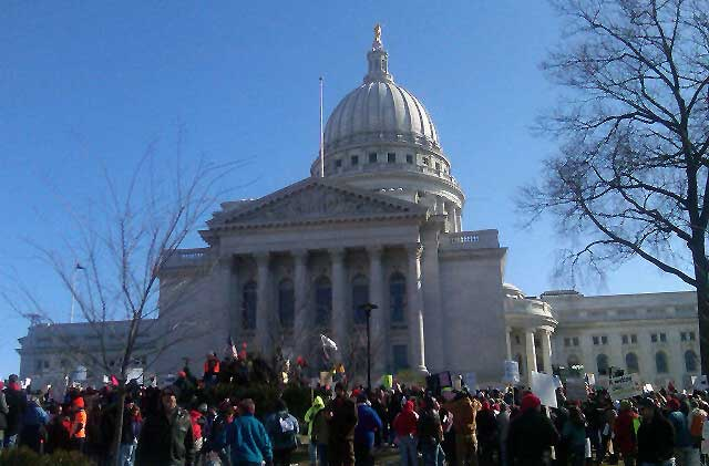 Workers, students protest at Wisconsin State Capitol, 02-19-11